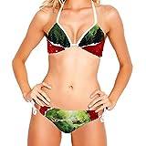 Conjunto de Bikini para Mujer Trajes de baño de 2 Piezas con Estampado Floral, Feliz Navidad en 2020 Reno de Trineo de Santa Claus