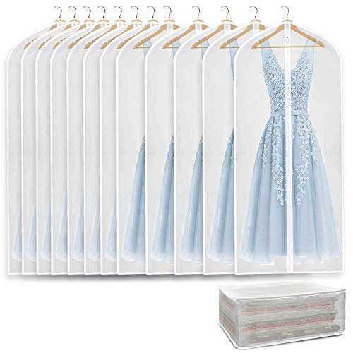 Refrze Moth Proof Garment Bags12 Pack Garment Bags for Closet Storage Clear Garment Bag with Zipper Breathable and Dust-Proof Suit Bags for Closet Storage Garment Covers 24 x 60