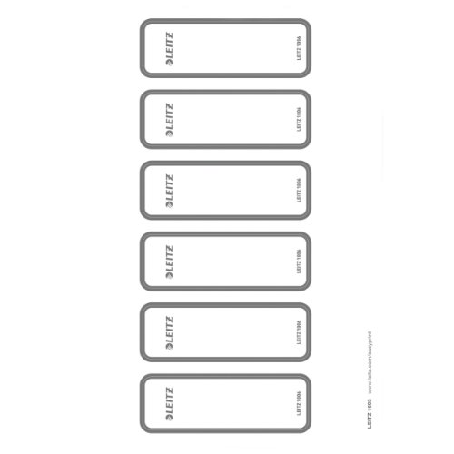 Leitz 16930085 Rückenschild selbstklebend PC, WOW Ordner, selbstklebend, PC-beschriftbar, schmal, 60 Stück, grau