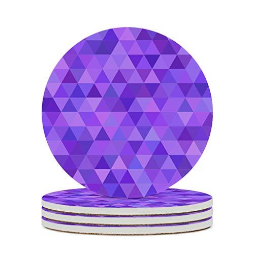 Fineiwillgo Posavasos de cerámica lila geométrica matemática triángulo antideslizante redondo de cerámica con base de corcho personalizado para jarrones caseros diámetro de 9,8 cm blanco 6pcs