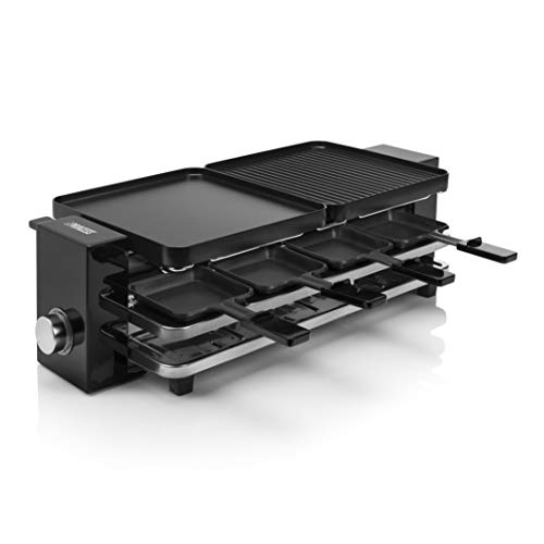 Princess Piano Raclette - für bis zu 8 Personen, multifunktional, 1200 Watt, Aluminiumguss-Platte, 8 Pfännchen und Spatel, BPA-frei, 162925