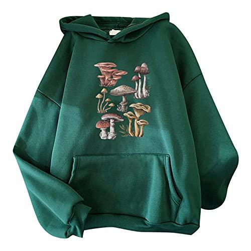 FMYONF Sudadera con capucha para mujer con diseño de caricatura kawaii, manga larga, para adolescentes, otoño e invierno, verde, M