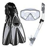 3pcs / Set de Snorkel máscara Gafas de natación + Submarino Tubo de respiración + Buceo Aletas Equipo de Buceo Accesorios de Kayak (Color : Gray, Size : L-XL)