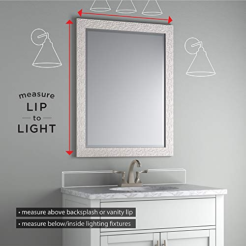 "Delta AUMRM1-UDH-R Wall Mount Vanity, Bedroom or Bathroom Mirror, Hangs Horizontal or Vertical, 24""x31"" Frameless Float Mount Rectangular Mirror, TRUClarity Deluxe Glass"