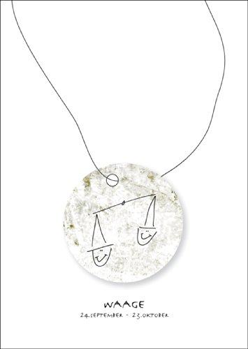 Horoscoop wenskaart voor iedereen die in het sterrenbeeld van de weegschaal geboren zijn • ook voor direct verzenden met hun persoonlijke tekst als inlegger. • Mooie hoogwaardige wenskaart met envelop voor u gemaakt.