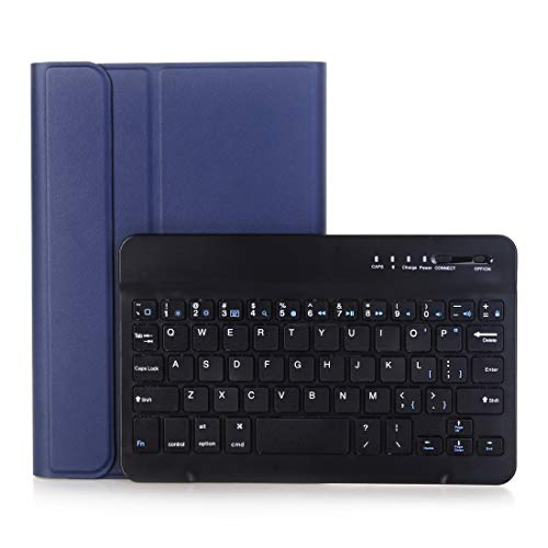 WuqiAng A05B Bluetooth 3.0 Ultra-thin ABS Detachable Bluetooth Keyboard Leather Case for iPad mini 5/4 / 3/2, with Holder (Color : Dark Blue)