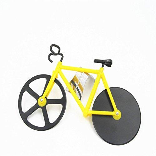 Rabi bicicletta rotella tagliapizza rotella tagliapizza utensile da cucina in acciaio INOX bici con cavalletto Yellow
