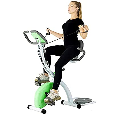 Murtisol Folding Exercise Bike Compact Foldable Stationary Bike Magnetic Resistance Control W/ Twister Plate, Arm Resistance Bands, Extra Large&Adjustable Seat and Heart Monitor Home Exercise,Green
