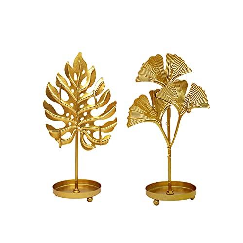 2 piezas de hojas de ginkgo forma de hojas de hierro joyería estante de exhibición de joyas torres de joyería pendientes almacenamiento collar pulsera anillo organizador soporte