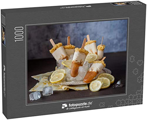 fotopuzzle.de Puzzle 1000 Teile Zitronen-Eistee Käsekuchen EIS am Stiel, Eiscreme-Lollies