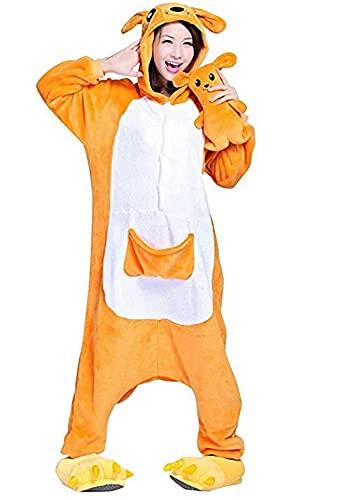 Kigurumi - Pijama de una pieza para disfraz de animal de Onesies para carnaval, Navidad, Halloween, fiestas, Cosplay de una pieza, cálido y suave con guantes de invierno, Canguro, XL