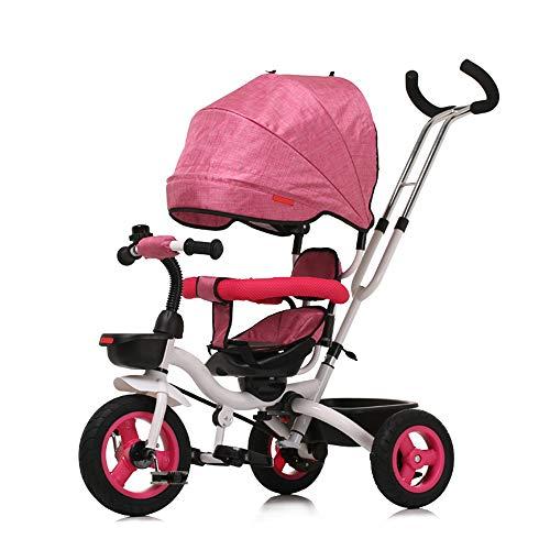WU ZHI Dreirad Kombikinderwagen Klein Faltbar Kinderwagen Einhändigem Faltmechanismus Pink