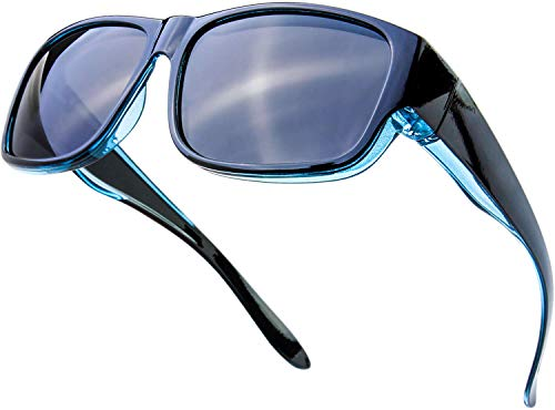 The Fresh High Definition Polarized Wrap Around Shield Sunglasses for Prescription Glasses 66mm Gift Box (407-Crystal Blue/Black Paint, Grey)