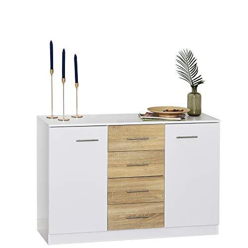 Buffet commode meuble de rangement 4 tiroirs coulissants 2 placards avec étagère blanc chêne clair
