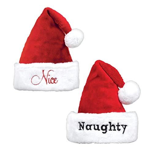 shoperama 2 Santa Claus Plüsch Mützen mit Bommel Stickerei Naughty & Nice Weihnachtsmann Nikolaus