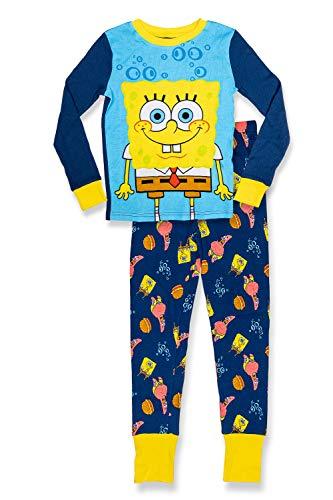 SpongeBob SquarePants Jungen Pyjama-Set, langärmelig, Oberteil und lange Hose, 2-teilig, 100 % Baumwolle, Größe 3T bis 8 - Blau - 3 Jahre