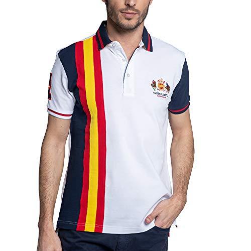 Valecuatro Camiseta Polo Manga Corta, Bandera y Colores de España, Pique 100% Algodón
