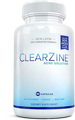 ClearZine Acne Solution - Las mejores pastillas naturales para el acné para el tratamiento rápido de espinillas y puntos negros | Suplemento para pieles claras con ácido pantoténico y zinc, 90 cáps