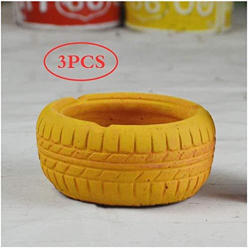 AMITD Set van 3 Creative Cement asbak wiel asbak opbergbox desktop ashouder sigaret asbak decoratieve asbak voor thuistoepassingen op kantoor (kleur: geel)