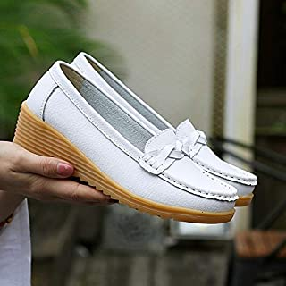 Casual Shoes Soft and Comfortable Wild Casual Leather Shoes for Woman (Color:Black Size:35) Casual Shoes
