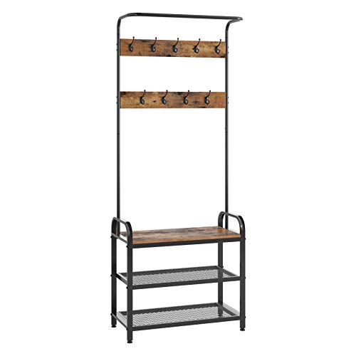 Homfa Coat Rack Shoes Bench, Hall Tree Entryway Shelf with Metal Frame, 3 in 1 Design Coat Stand Entryway Organizer, with Adjustable Feet and 9 Rounded Hooks, Wood Look Accent Furniture-Rustic Brown