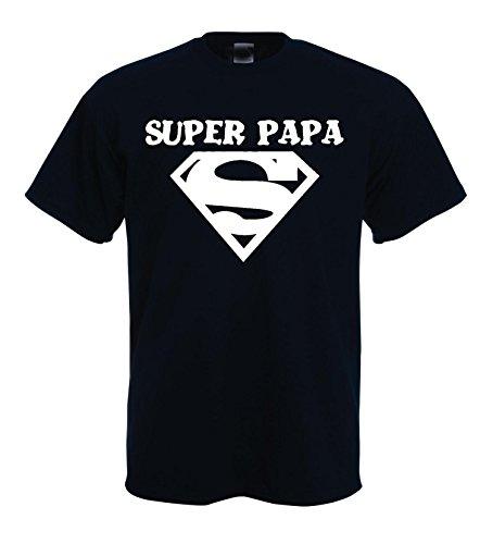 Solenzo -T-Shirt Homme Super Papa - idée Cadeau fête des pères - Plusieurs Couleurs (S, Noir)