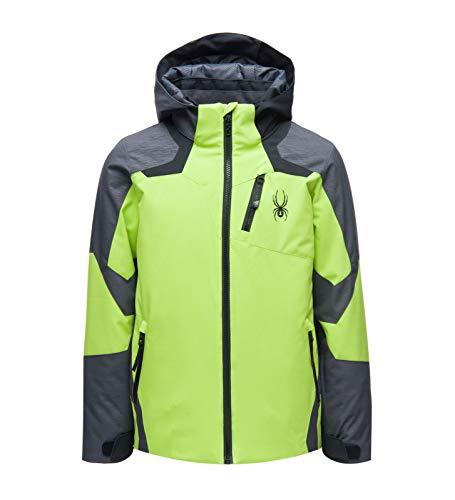 Spyder Boys Leader Jacket Colorblock-Grau-Grün, Kinder Daunen General, Größe 16 - Farbe Mojito