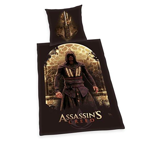 Herding ASSASSIN'S CREED Bettwäsche-Set, Kopfkissenbezug 80x80cm, Bettbezug 135x200cm, 100% Baumwolle, Renforcé, mit leichtläufigem Reißverschluss