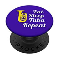 Tuba Player Gift - Eat Sleep Tuba Repeat - Blue PopSockets PopGrip: Swappable Grip for Phones & Tablets