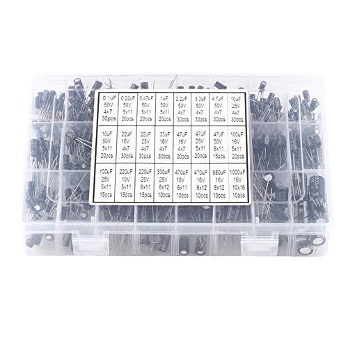 Nitrip Kit Surtido de condensadores electrolíticos de Aluminio de 500 valores y 24 valores, Rango de capacitores electrolíticos 10V ~ 50V 0.1uF a 1000uF
