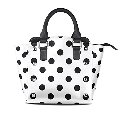 Use4 Women's Hipster White Black Polka Dot Rivet PU Leather Tote Bag Shoulder Bag Purse