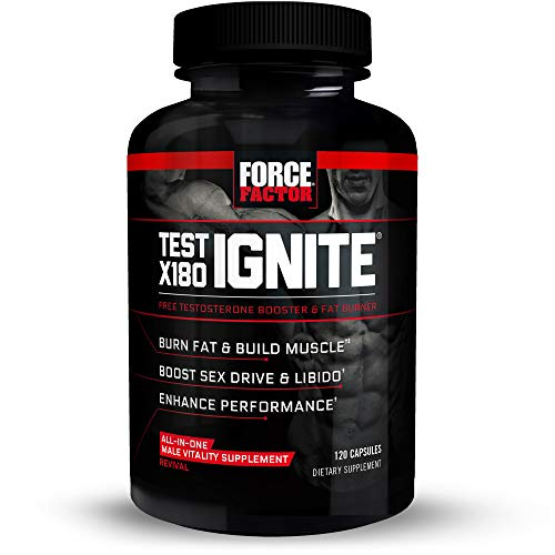 Test X180 Ignite Total Testosterone Booster for Men with Fenugreek Seed and Green Tea Extract to Build Lean Muscle, Boost Energy, and Improve Performance, Force Factor, 120 Count