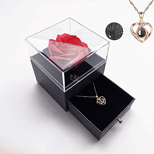 Handmade Preserved Rose Gift Box with Forever Rose and Love You Necklace in 100 Languages, Enchanted Flower Gift for Girlfriend Mother Wife on Anniversary Valentine's Day Mother's Day Christmas Day
