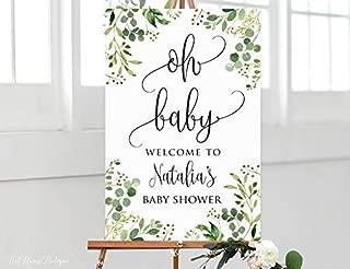 Enidgunter Greenery Baby Shower Welcome Sign, Oh Baby Welcome Sign, Calligraphy Welcome to Baby Shower Sign, Eucalyptus Baby Shower, Yellow,