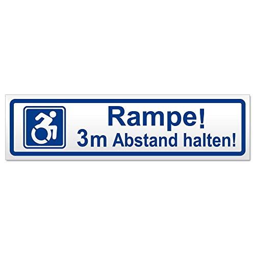 Kiwistar Rampe! Motiv 3m Abstand halten! Hinweis Aufkleber Sticker laminiert wetterfest