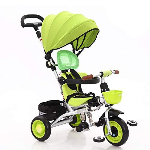 SSLC driewieler voor kinderen Trike 4 in 1 driewieler met duwstang driewieler met duwstang met kinderzitje van 6 maanden tot 6 jaar, regenbescherming gratis met koppeling en rem
