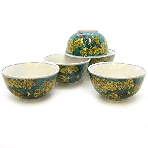 九谷焼 湯のみ 5客セット 吉田屋松に鳥 陶器 和食器 来客用 湯呑み茶碗 日本製 k6-0744