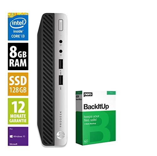 HP ProDesk 600 G4 | Mini PC | Intel Core i3-8100T @ 3,1 GHz | 8GB RAM | 128GB SSD | Windows 10 Pro (Zertifiziert und Generalüberholt)