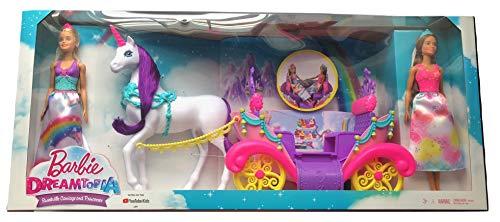 Dreamtopia バービー Sweetville ユニコーン ブライドルとリンスローリングキャリッジとバービー人形プリンセス2個付き この愛らしいプレイセットであなたの小さな王国を体験しましょう
