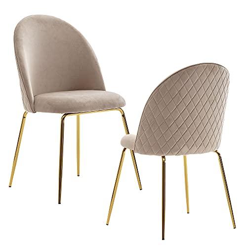 FineBuy Sedie per Sala da Pranzo Beige Set di 2 Velluto e Metallo Scandinavo Sedie   Design Sedie da Cucina Imbottito Retró   Sala da Pranzo Tessuto Poltroncina