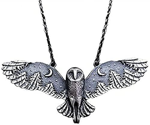 Collar de plata con búho y luna, bosque, susurro creativo, retro, búho, collar de plata, joyería de arte de fase lunar vintage, collar de tótem animal para mujer (1PCS)