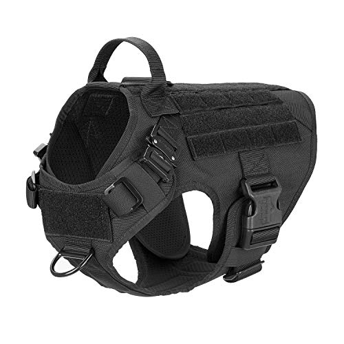 """ICEFANG Tactical Dog Harness with 2X Metal Buckle,Working Dog MOLLE Vest with Handle,No Pulling Front Leash Clip,Hook and Loop for Dog Patch (M (25""""-30"""" Girth), Black)"""