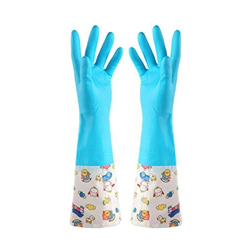 JUNGEN 2PCS Gants de Ménage Cuisine Imperméables Latex Gloves Durable Longue Gants Lave-vaisselle Légumes