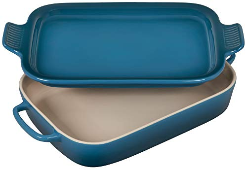 Le Creuset Heritage Casserole Stoneware Rectangular Dish with Platter Lid, 14 3/4 inch x 9 inch x 2 1/2 inch, Deep Teal, 2.75 qt