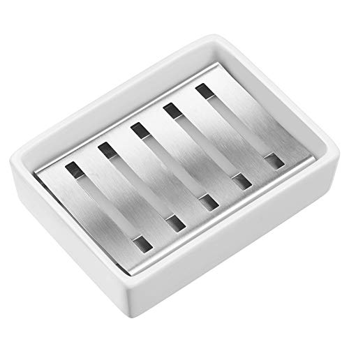 SANNO Ceramic Soap Dish Holder Stainless Steel Soap Holder for Bathroom and Shower Double Layer Draining Soap Box