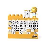 """カレンダー DIYブロック永久カレンダーキッズ大人のおもちゃカレンダーかわいい面白い机カレンダー耐久性のある毎月のカレンダー4.7x4.9""""、4色 ホームカレンダー (Color : Yellow)"""