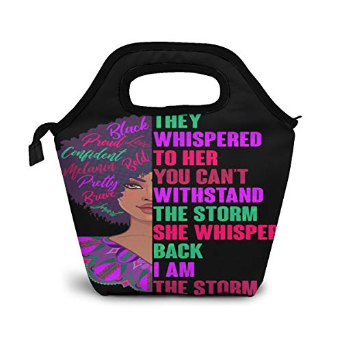 NA-1 African American Proud Inspiring Black Woman Waterproof Insulated Reusable Lunch Bag Box Food Container Gourmet Tote Portable Handbag with Zipper for School Work Outdoor