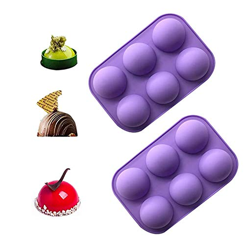 Chocolate Molds, 2Pcs DIY 6 Holes Half Round Silicone Hot Chocolate Bomb Mold for Home Kitchen Baking Cake, Jelly, Pudding, Dome Mousse, Handmade Soap Mold (A)