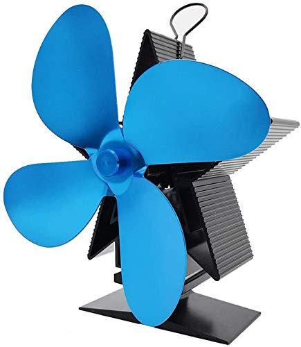 NAYY 4 Blades Holzofen Fan Wärme Powered Holzofen Holzofen Kamin Silent-Eco freundlich und effizient Ventilator for Holz/Holzofen/Kamin (Color : Blue)