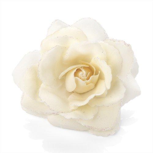 Grand bandeau élastique et pince à cheveux avec rose à paillettes Crème